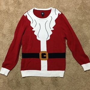 Men's red Santa suit sweater with beard